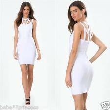 NWT bebe white multi straps cage cutout neck bodycon bandage top dress M medium