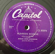 """RARE 78RPM 10"""" SUGAR CHILE ROBINSON NUMBERS BOOGIE/AFTER SCHOOL BLUES CAPITOL"""