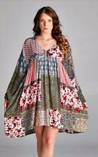 VELZERA Boho Hippie Chic Red Olive Green Patchwork Tunic Dress NEW Large