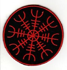 HELM OF AWE STAVE RUNE EMBROIDERED IRON ON PATCH Aegishjalmur thor asatru odin
