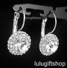 18K WHITE GOLD PLATED DIAMANTE DANGLE HOOP PARTY EARRINGS USE SWAROVSKI CRYSTALS