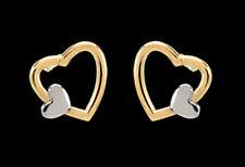 ECHT GOLD *** Kleine Ohrstecker Ohrringe Herz Doppelherz bicolor 7 mm