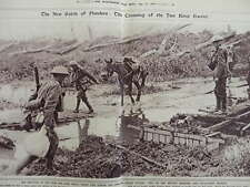 1917 CROSSING YSER RIVER THIRD BATTLE OF YPRES WESTERN FRONT WWI WW1 DOUBLE PAGE