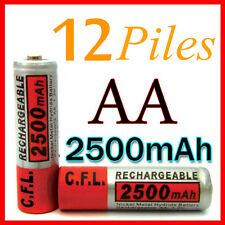 12 PILES ACCUS RECHARGEABLE AA NI-MH 2500mAh 1.2V LR06 MIGNON - DIRECT DE FRANCE