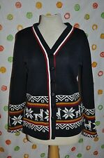 Vintage retro M UGLY polyester CLAIRE LARABEE CHRISTMAS SNOWFLAKES  DEER SWEATER