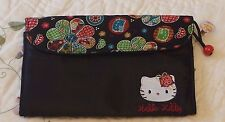 "RARE Vintage Sanrio""Tapestry""Hello Kitty Black Satin bag for makeup brushes USED"