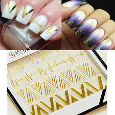1 Sheet 3D Nail Art Gold V Shape Heartbeat Nail Stickers Decals Tips Decoration