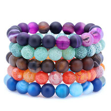10MM Agate 7-7.5 Inch Stretchy Adjustable Stackable Bracelet Set of 5