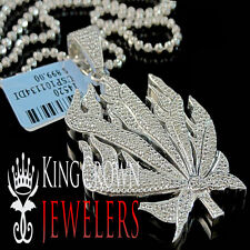Real Genuine Diamond Marijuana Leaf Plant Pendant Charm 10K White Gold Finish
