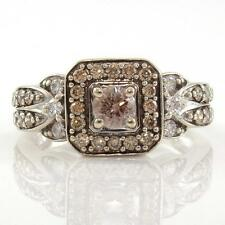 LeVian 14K White Gold 0.75ct Chocolate Diamond Square Halo Ring Size 6.25