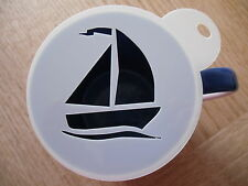 Laser cut sailing boat design coffee and craft stencil