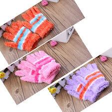 Fashion Girl's Feather Winter Warm Gloves Cute Candy Colored Knitted Gloves
