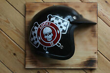 """Lucky 13 Motorcycle Helmet"" Vintage Style Wall Sign Plaque  Man Cave Hotrod VW"