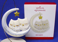 Hallmark Ornament New Parents 2013 Mom Dad Baby Owl on the Moon NIB Free Ship