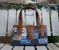 Coach Denim Patchwork Signature Satchel Tote Bag $458
