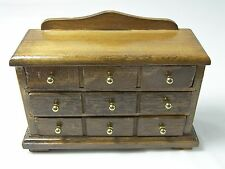 CHEST DRESSER DRAWERS Miniature Doll House Furniture Wood with Brass Knobs
