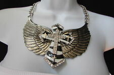 New women silver metal roker big cross necklace big eagle wings zebra stripes