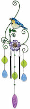 "34"" GLASS METAL BLUE BIRD SUN CATCHER WIND CHIME GARDEN VINTAGE SHOES  1 JEWELRY"