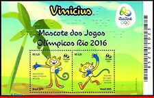 15-22 BRAZIL 2015 Olympic games,RIO 2016,Mascot Vinicius,MNH,SHIPPING REGISTERED
