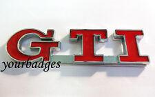 RED Chrome Metal GTI Car badge VW Golf Peugeot 206 207
