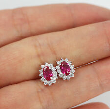 Pretty Solid 925 Sterling Silver & Cut Ruby,CZ Stud Earrings jewellery