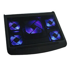 "5 Fans 10""-17"" Laptop Notebook Blue LED Light USB Port Cooling Stand Pad Cooler"