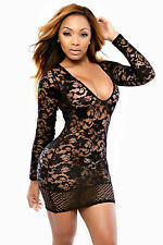 Abito ricamato trasparente nudo Mini Bandage Mesh embroider Nude Bodycon dress L