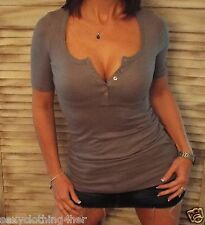 Very Sexy Ribbed Deep V Neck Cleavage Pearl Button Henley Shirt Top Tunic Gray S