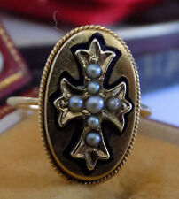 ENGLISH 15K GOLD VICTORIAN EUROPEAN SEED PEARL MALTESE CROSS SHIELD RING SZ 5