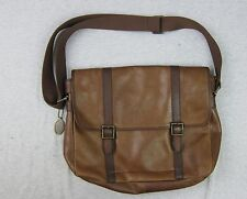 Fossil Brown Leather Shoulder Messenger Bag Laptop 15x13x3