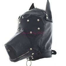 Leather Dog Hood Head Mask Headgear Slave Roleplay Face Mask Cosplay Costume
