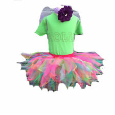 Neon Tutu Skirt 80's Fancy Dress Party Costume Sparkle Wings Baby Toddler Girls