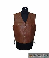 Gilet Uomo Warrior Pelle Marrone Laccetti Leather Vest Brown Biker Moto TG. XL