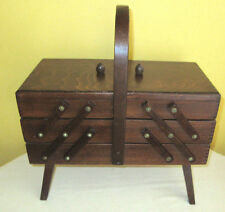 vintage Folding Fold Out Wood Sewing Box