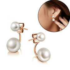 New Fashion Lady 925 Sterling Silver Freshwater Pearl Ear Stud Dangle Earrings