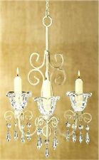 SHABBY ELEGANCE DISTRESSED IVORY COLOR SCROLLWORK 3 CANDLE CHANDELIER ** NIB