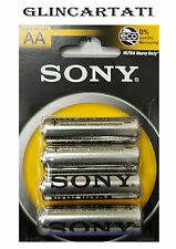 48 SONY AA BATTERIE PILE STILO SONY AA 1,5V Ultra Durata R6 Zinco Carbone