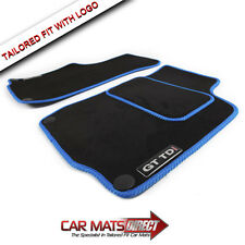 VW Golf MK4 GT TDI 97-04 Tailored Car Floor Mats Blue Edge + Logos (Round Clips)