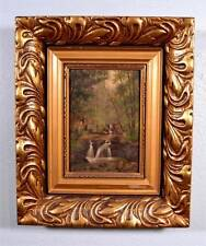 Signed Oil on Panel Painting by G. Crehay (1844-1936) Forest Waterfall Scene (K)