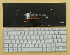 UK Keyboard For SONY SVF14321CLW SVF14325CLW SVF14413CLW Backlit No Frame White