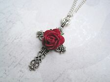 *ORNATE FILIGREE SILVER CROSS RED ROSE* Chain Necklace Gothic GIFT BAG Plated