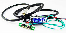 "0.28"" Blue LED Digital Probe thermometer Car Clock 3in1 Panel Meter DC 12V/24V"