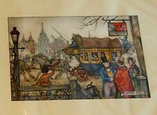 Vintage Lot Decoupage 3 Prints Anton Pieck De Reisende Man 1971