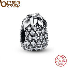 Mini Authentic S925 Sterling Silver Pineapple Charms Fit Pa European Bracelets