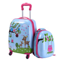 """2Pc 12"""" 16"""" Kids Luggage Set Suitcase Backpack School Travel Trolley ABS New"""