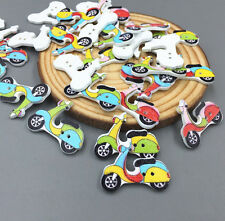 20X Mixed Color Tram Wooden Sewing Buttons Scrapbooking Decorations 26mm