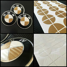 White & Gold CARBON Overlay Decal - BMW BADGE EMBLEMS Roundel Rims Hood Trunk