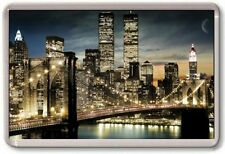 FRIDGE MAGNET - NEW YORK NIGHT - Large Jumbo - USA Twin Towers