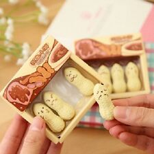 4Pcs Durable Kawaii Peanut Rubber Eraser Lovely Cartoon Stationery for Children