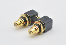 2 pcs  Hi End  PCB TYPE RCA Socket Copper with real gold plated  TAIWAN Made